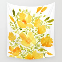 Watercolor California poppies (Quad set, #2) Wall Tapestry