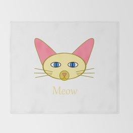 Siamese Cat, Meow Throw Blanket