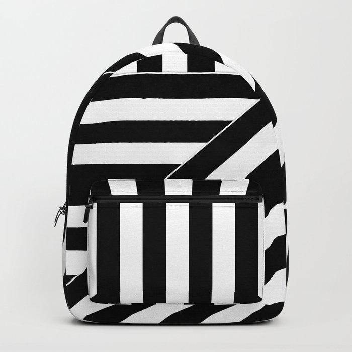 Asymmetric black and white stripes Backpack