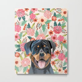 Rottweiler floral pet portrait dog breed gifts for pure breed dog lovers Metal Print