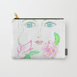 Grunge female face Carry-All Pouch