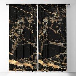 Marble, Black + Gold Veins Blackout Curtain