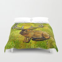 jackalope Duvet Covers featuring Jackalope by Rob Sassi