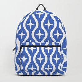Mid century Modern Bulbous Star Pattern Blue Backpack