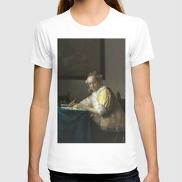 A Lady Writing Oil Painting by Johannes Vermeer T-shirt