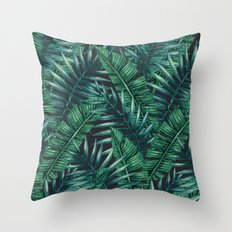 Palm and Banana Leaf Tropical Pattern Throw Pillow