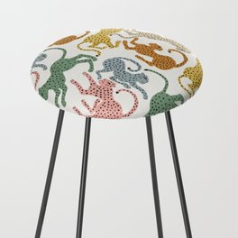 Rainbow Cheetah Counter Stool