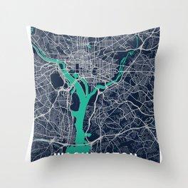 Washington Blue Dark Color City Map Throw Pillow