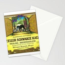 Vintage Zeller Cats Schwarze Riesling - Mosel Saar Ruwer Wine Bottle Label Print Stationery Cards