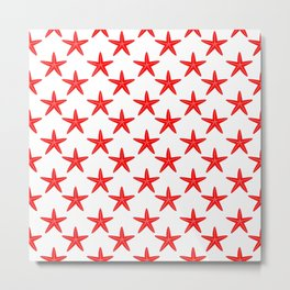 Starfishes (Red & White Pattern) Metal Print