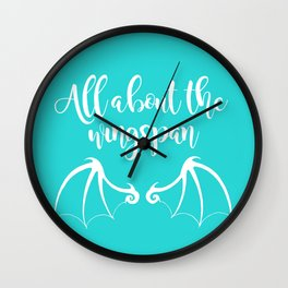 All About the Wingspan blue design Wall Clock