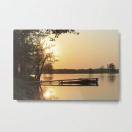 Sunset Dock Metal Print