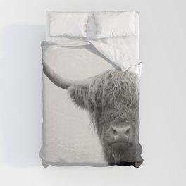 Highland Cow Black & White #4 #wall #art #society6 Duvet Cover