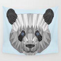 panda Wall Tapestries featuring panda by Nir P