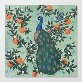 Tropical Peacock Chinoiserie With Oranges Canvas Print