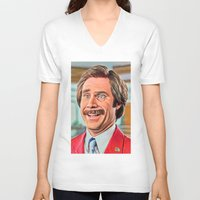 anchorman V-neck T-shirts featuring ANCHORMAN by i live