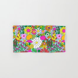 60's Groovy Garden in Blue Hand & Bath Towel
