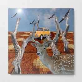 Visitor to the well paved forest Metal Print