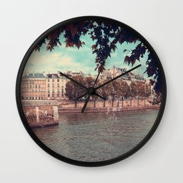 Paris Architecture and Seine River, Vintage Styled Wall Clock