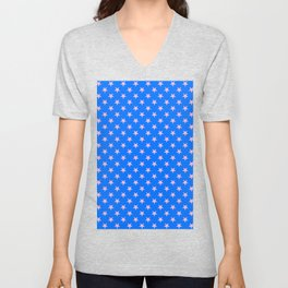 Cotton Candy Pink on Brandeis Blue Stars Unisex V-Neck