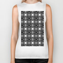 Decorative pattern in black and white 3 Biker Tank