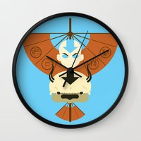 aang Wall Clocks featuring Yip Yip by Ashley Hay