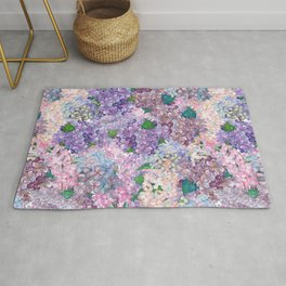 Purple and blue Lilac & Hydrangea - Flower Design Rug