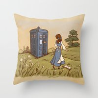 hallion Throw Pillows featuring Adventure in the Great Wide Somewhere by Karen Hallion Illustrations