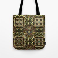 stargate Tote Bags featuring Stargate - Mayan Edition by Lyle Hatch