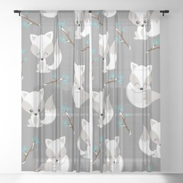 ARCTIC FOXES ON GREY Sheer Curtain