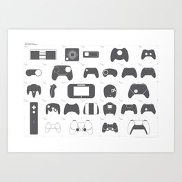 The Evolution of Video Game Controllers Art Print