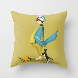 Blue Chickadee Throw Pillow