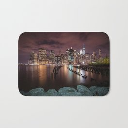 MANHATTAN SKYLINE Evening Atmosphere in New York City Bath Mat