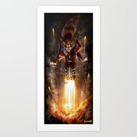 rocket raccoon Art Prints featuring Rocket Raccoon by James Bousema