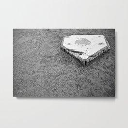Black and White Distressed Baseball Base Metal Print