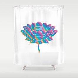 Blue Rainbow Lotus Holly Flower Shower Curtain
