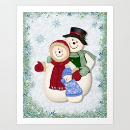 Snowman and Family Glittered Art Print
