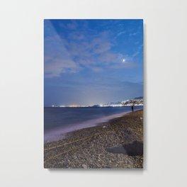 Long exposure wall art, night seascape, cityscape horizon, sea horizon, ocean horizon, skyline Metal Print