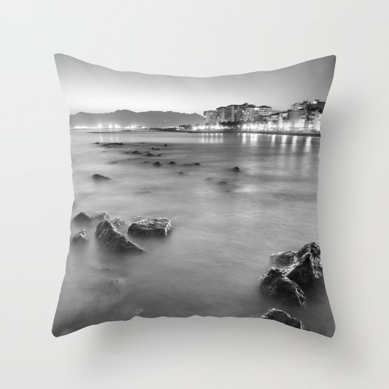 The beach at the summer night Throw Pillow