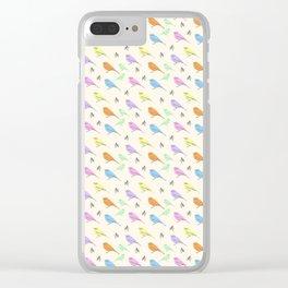 Pastel Shrike-Thrushes on Cream Clear iPhone Case