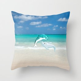 Tropical turquoise sand beach cute nautical animals Throw Pillow