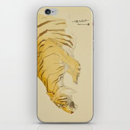 Sketch of Tiger Zoological Garden Vintage Beautiful Japanese Woodblock Print Hiroshi Yoshida iPhone Skin