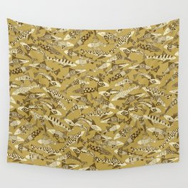 shark party gold Wall Tapestry