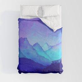 Cerulean Blue Mountains Comforters