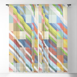 Colorful Geometric Stripes Radande Sheer Curtain