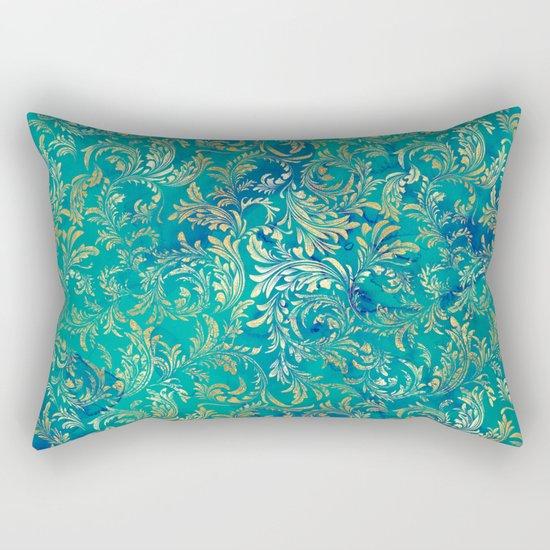 Blue Gold Swirls Rectangular Pillow