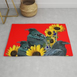 DECORATIVE RED ART SUNFLOWERS & CROW/RAVENS COVEN Rug