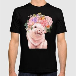 Lovely Baby Pig with Flowers Crown T-shirt