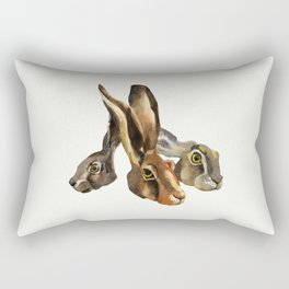 Hare illustration of three brothers - hand painted watercolor artwork - nature painting - Bunny Rectangular Pillow