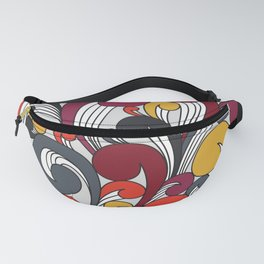 Abstract colorful floral waves seamless pattern  Fanny Pack